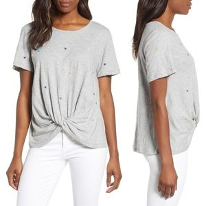 Caslon Grey Star Embroidered Twist Front Top L